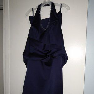 Women's royal blue two-piece gown with wrap